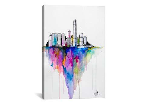 NY New York Home Decor Canvas Print A4 Size 210 x 297mm