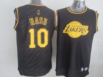 Los Angeles Lakers  10 Steve Nash Revolution 30 Swingman 2014 Black With  Gold Jersey 8cc249fc8