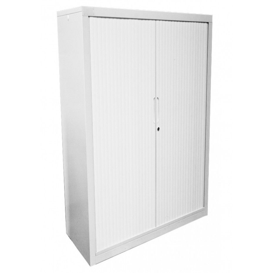 Tall Wide Tambour Door Cabinet Durable Steel Body Powdercoated White