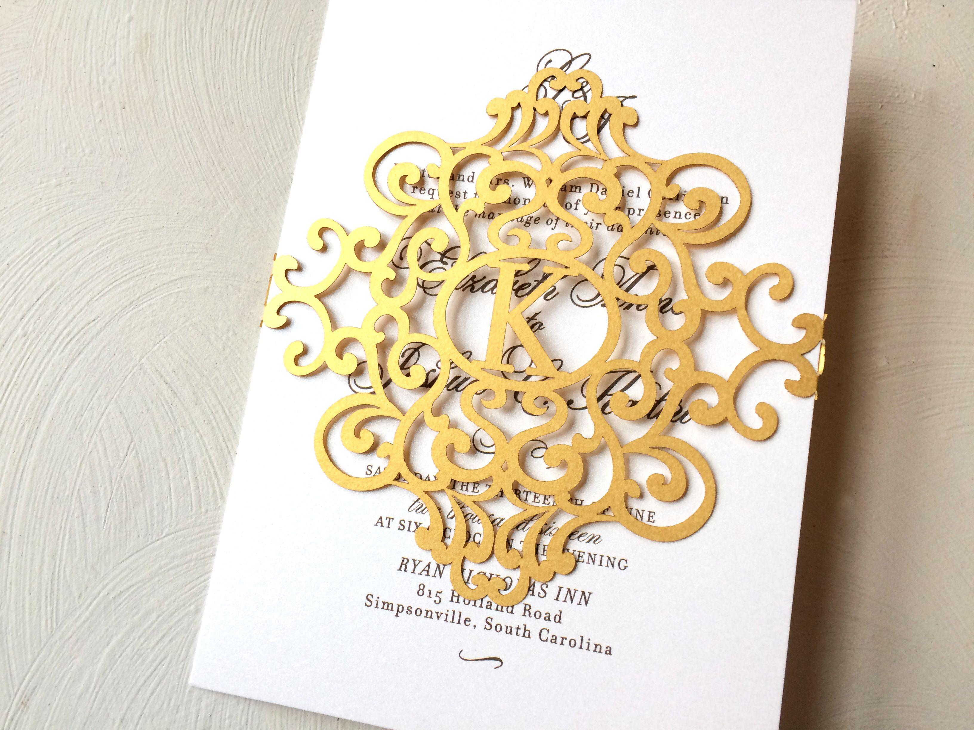 Gold Laser Cut Wedding Invitation, Laser Cut Belly Band For Wedding  Invitations, Custom Laser