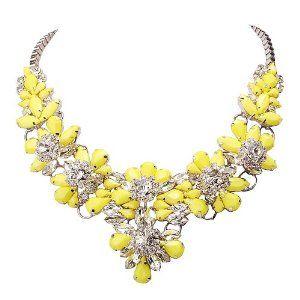 Yellow Silver Necklace Bib
