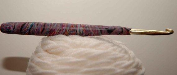 Polymer clay decorated crochet hook H 50mm by zhuzhusworld on Etsy, $10.00
