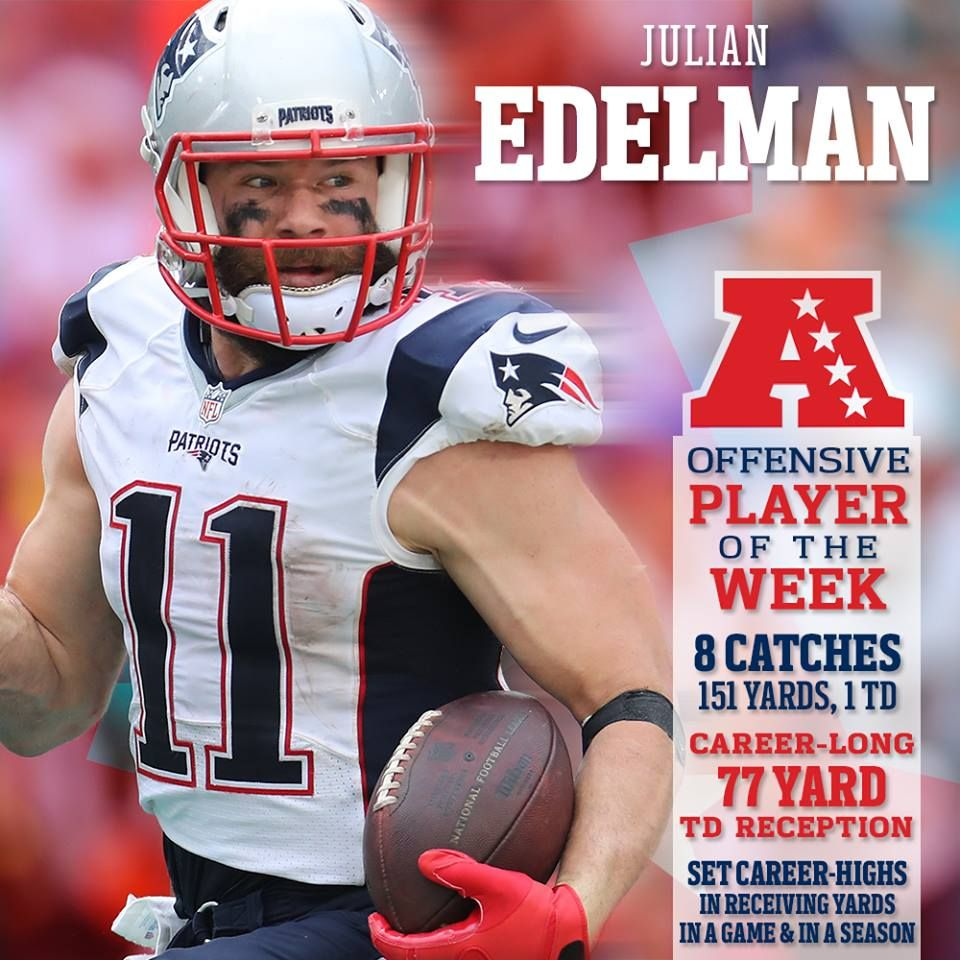 Julian Edelman Wins First Career Afc Player Of The Week Award Http Bit Ly 2ii4rre New England Patriots Patriots Football Patriots