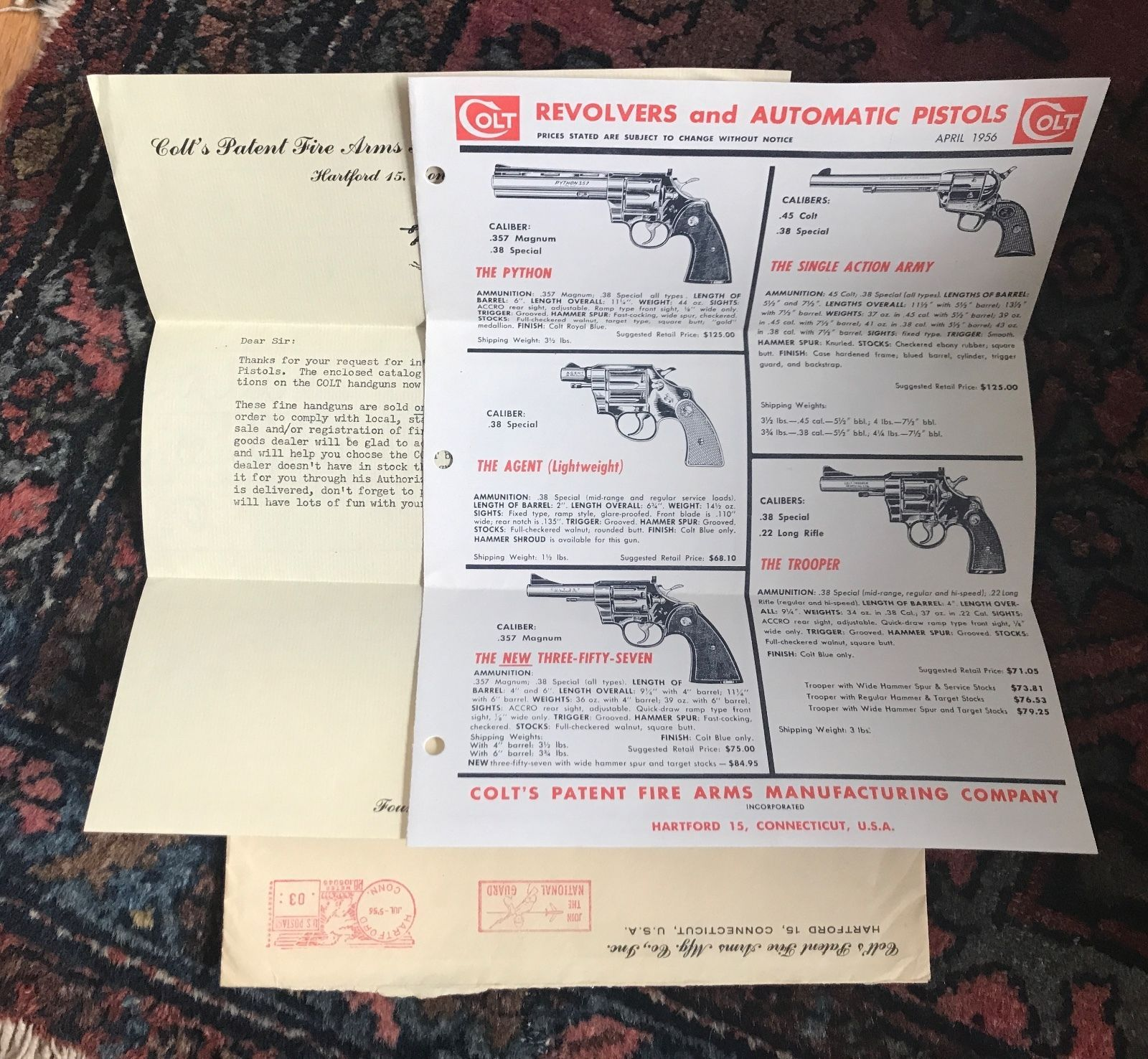 1955 Signed Colt Letter And Hand Gun Brochure 17 Firearms Kits 1911 Pistols Etc