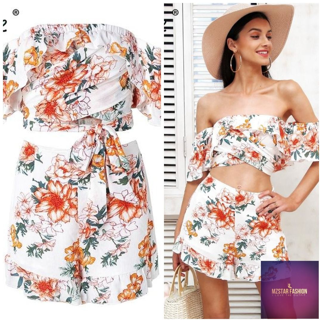 7f26012820b32 Simplee Off shoulder two piece jumpsuits rompers Women floral print ...
