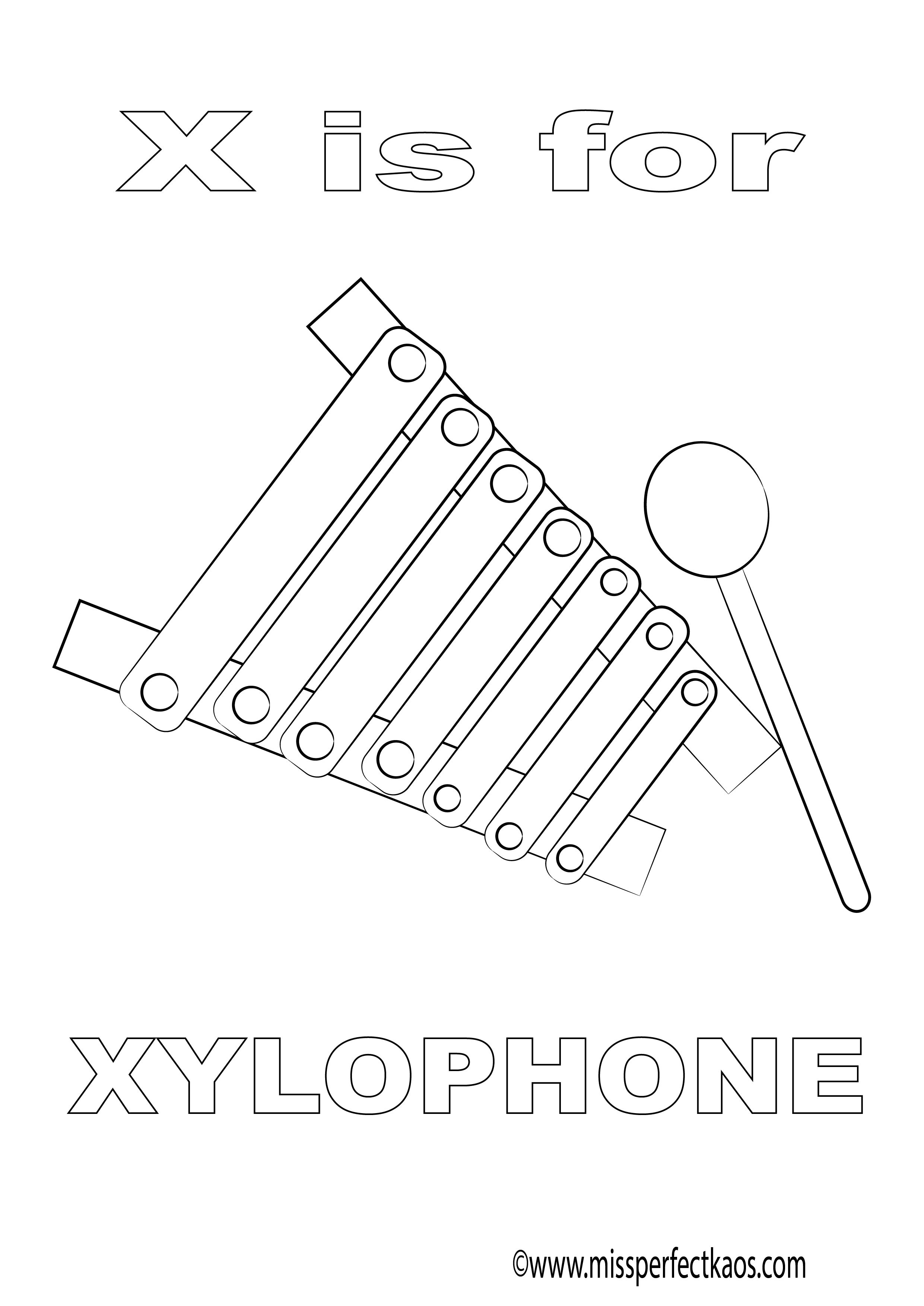 X Is For Xylophone Coloring Page For Kids Learn The Alphabet And