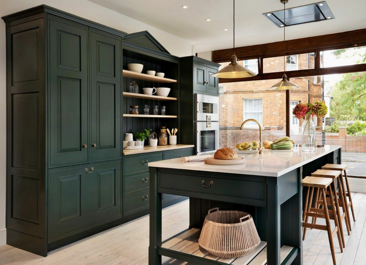 pin by julie smith on i love me some home green kitchen cabinets dark green kitchen on kitchen interior green id=88481