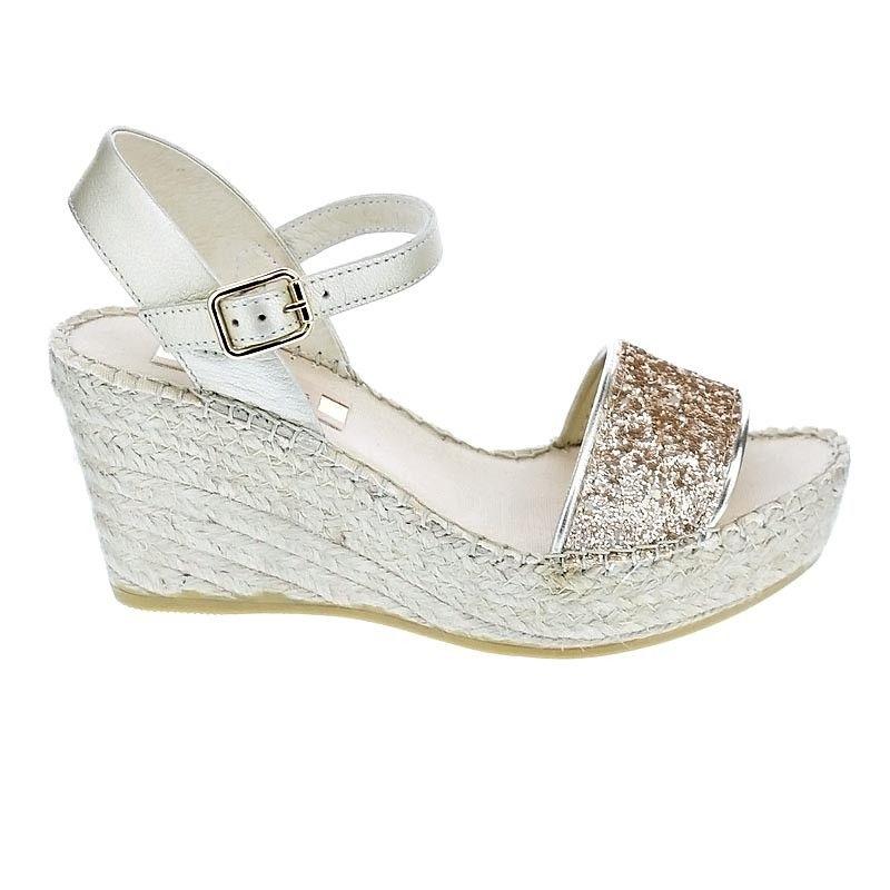 185bc3d3f1f Goldie leather glitter platform wedge espadrille sandal by VIDORRETA