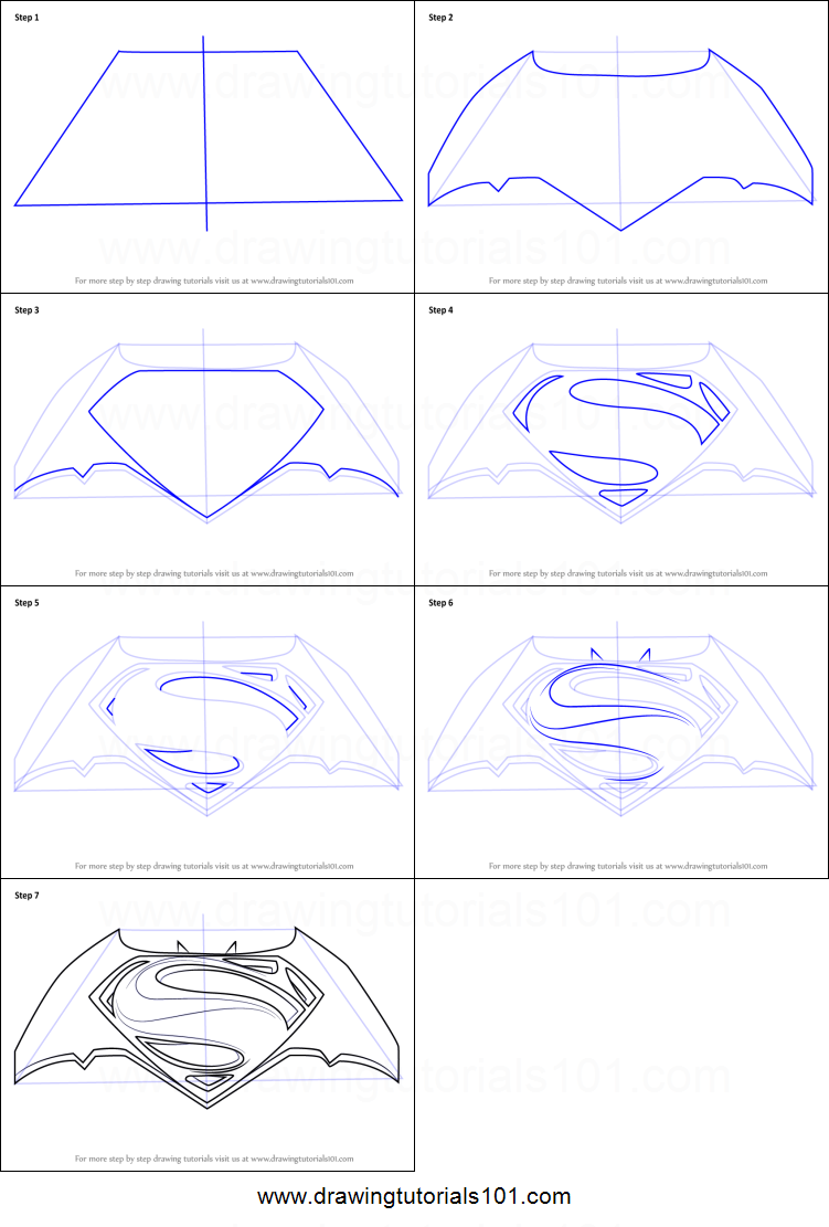 How To Draw Batman V Superman Logo Printable Drawing Sheet By