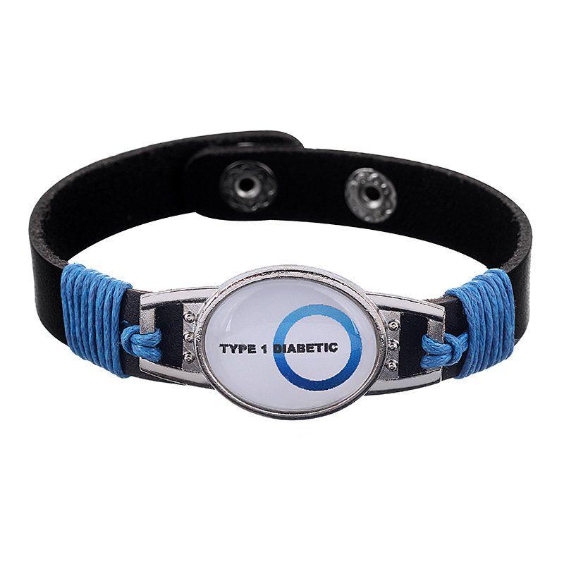 Type 1 Diabetic Blue Medical Adjustable Leather Bracelet Medical Alert Bracelet Awareness Jewelry Gift Alert Bracelet Medic Alert Bracelets Awareness Jewelry