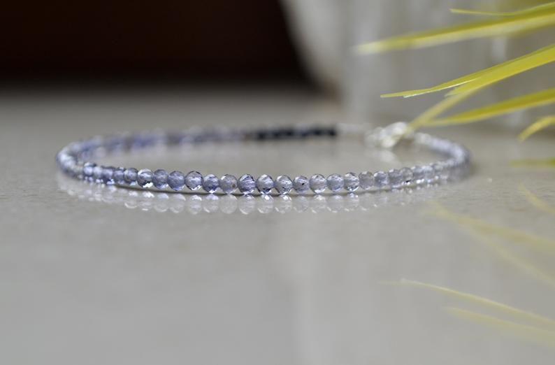 Lovely AAA Iolite /& Sterling Silver Gemstone Bracelet
