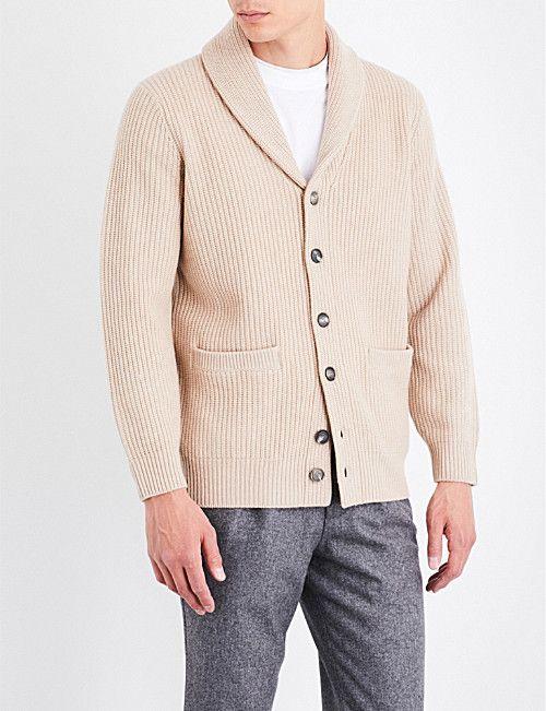 BRUNELLO CUCINELLI Shawl-lapel wool, cashmere and silk-blend cardigan