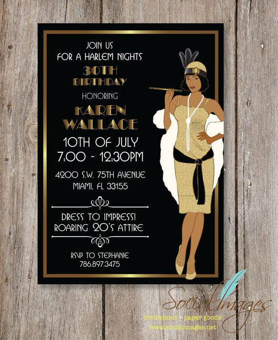 Harlem Nights Birthday Party Invitation By SocialImagesInc