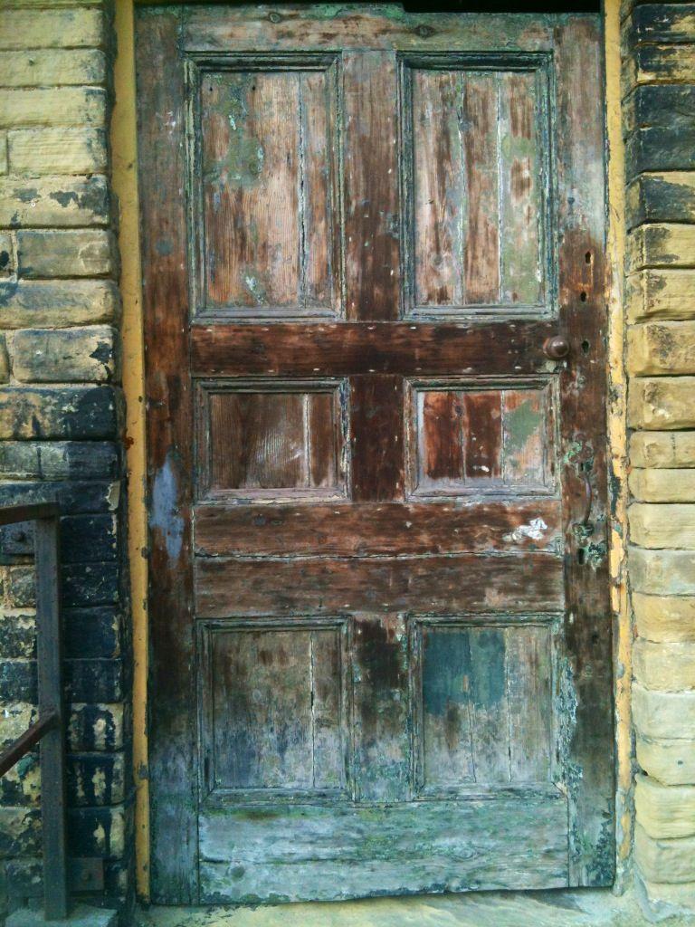 Door in Dean Clough buildings Halifax Yorkshire