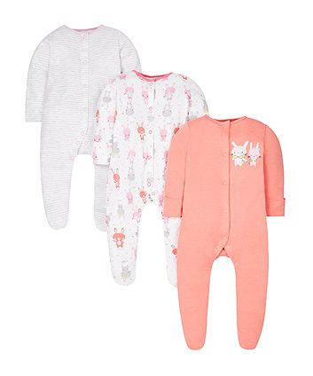 3 X Sleepsuits Baby Girl Newborn Girls' Clothing (newborn-5t)