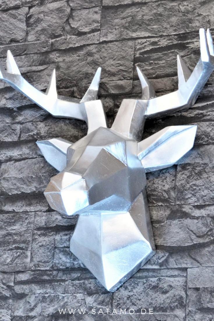 Hirsch Deko Wand.Wandfigur Deer Silver In 2019 Silber Deko Hirschkopf Deko