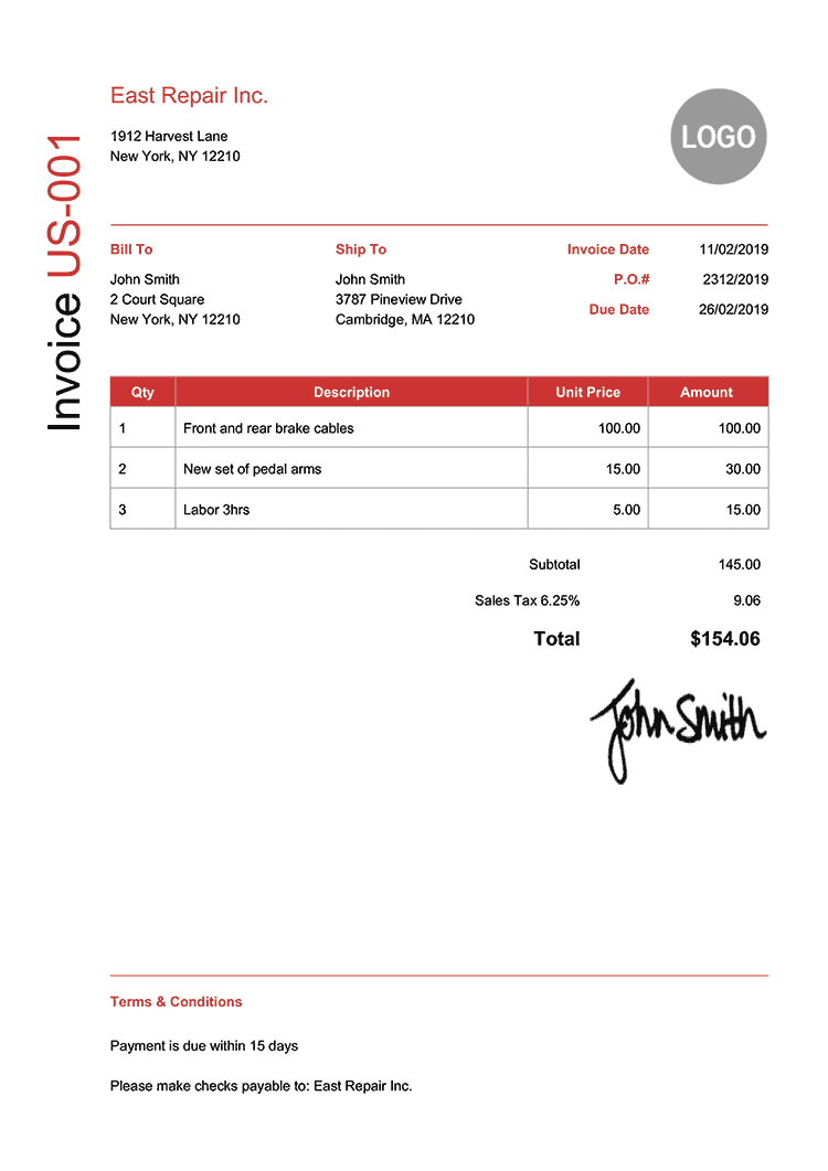 Invoice Template Us Modern Red 750px Free Receipt Template Receipt Template Invoice Template