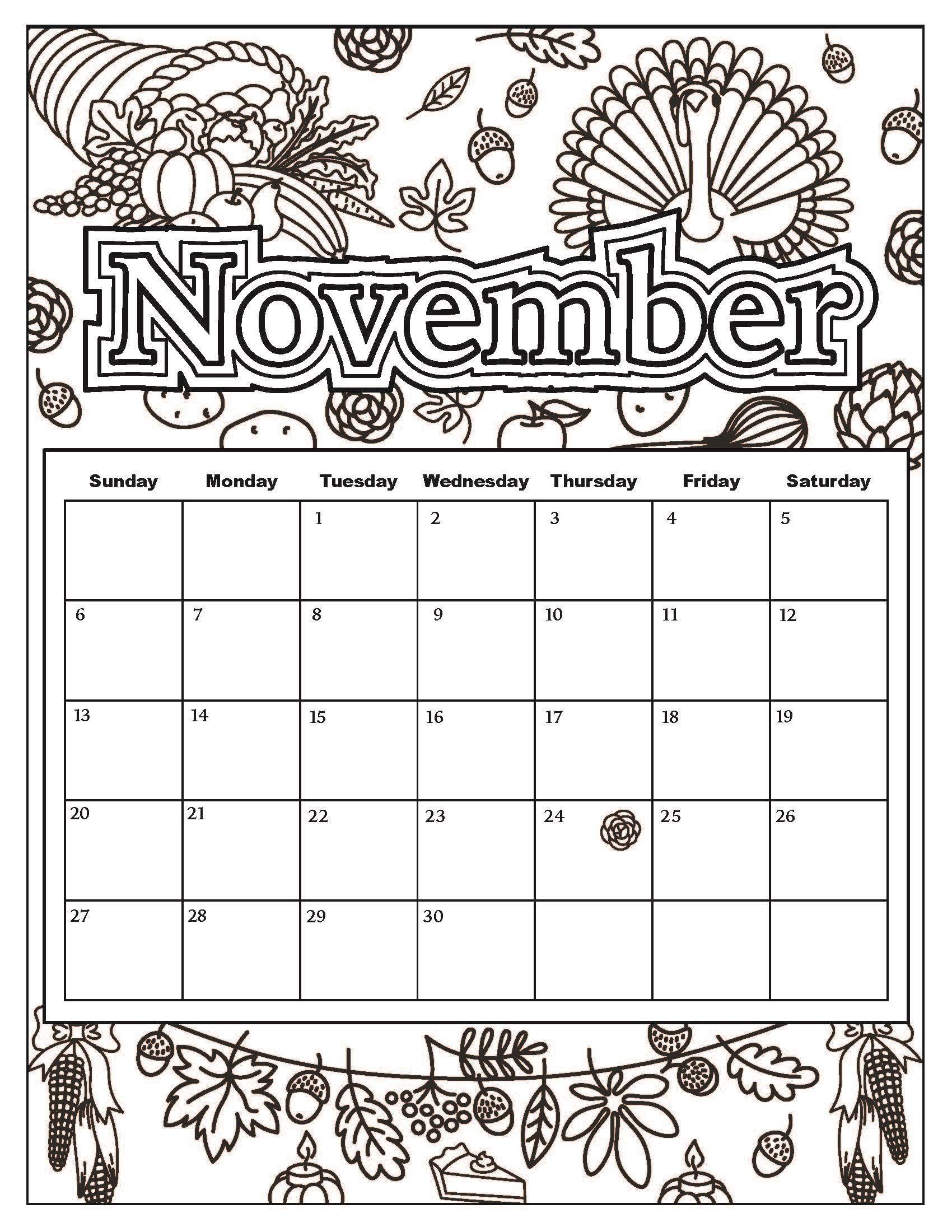 November Thanksgiving Calendar Coloring Sheets Educative Printable Coloring Calendar Kids Calendar Coloring Books