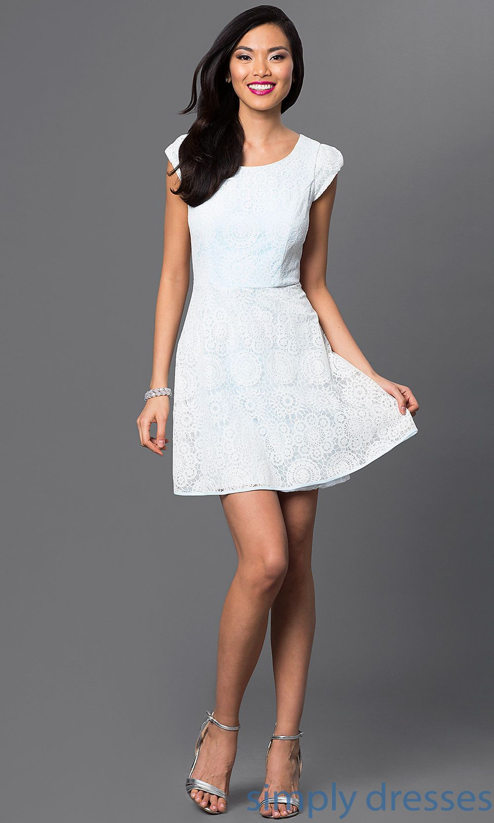 Shop blue and white graduation dresses with cap sleeves at simply