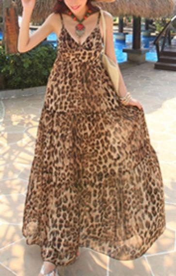cd03a7565b9a Leopard Printing V-neck Spaghetti Straps Chiffon Maxi Beach Dress ...