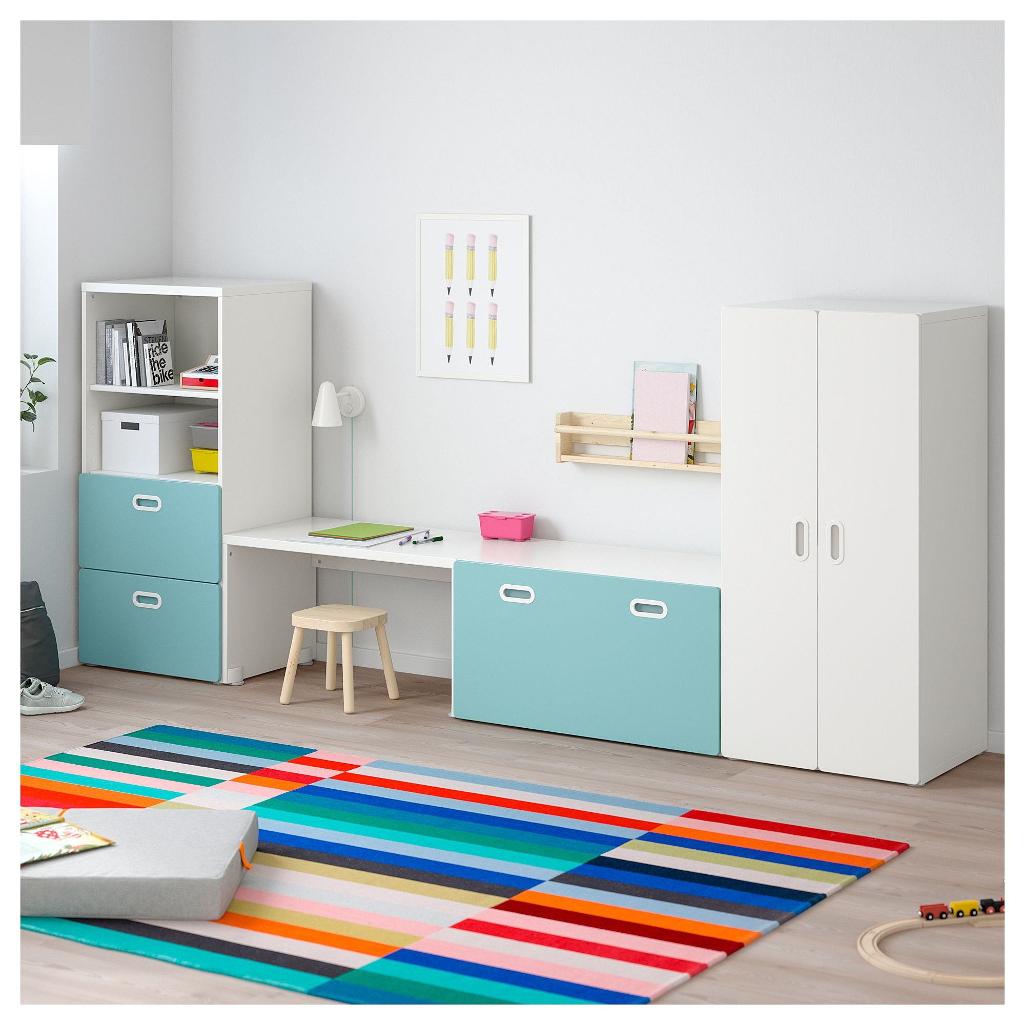 stuva / fritids storage combination, white, light blue in 2018