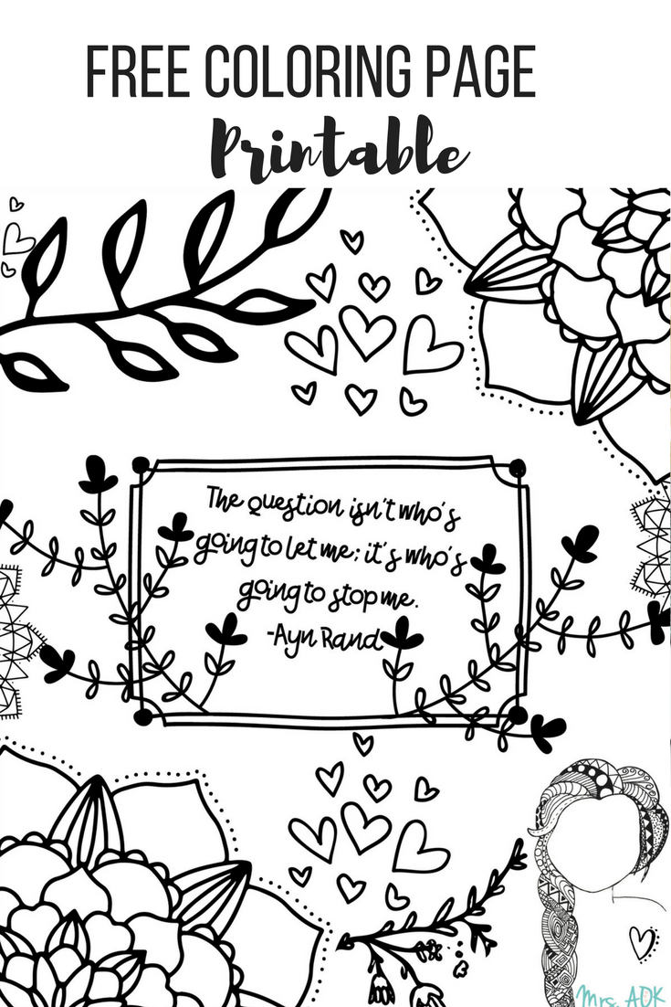 Ayn Rand Quote {FREE} Printable Coloring Page For My