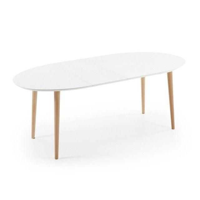 Table Oqui extensible ovale 120-200 cm, naturel et blanc Kitchens
