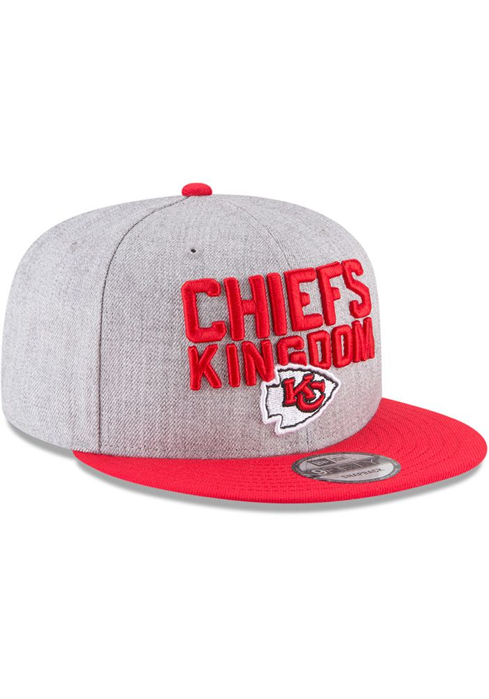 big sale ac934 20e4d New Era Kansas City Chiefs Grey 2018 On-Stage Draft 9FIFTY Mens Snapback Hat