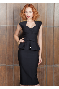 1950s Fitted Black Icon Peplum Dress