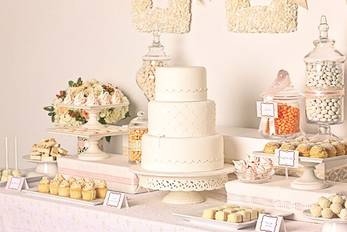Elegant White Wedding Dessert Buffet