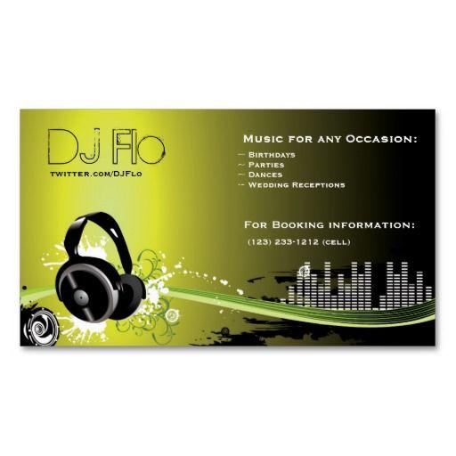 DJ deejay music coordinator Business Cards Musical Pinterest