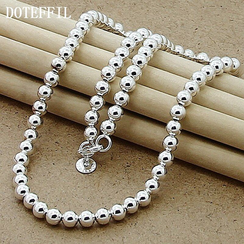 6mm Smooth Beads Trendy Pendant Necklace Promotions Price 925 Sterling Silver Necklace For Silver Jewelry Fashion Silver Bead Necklace Trendy Pendant Necklace