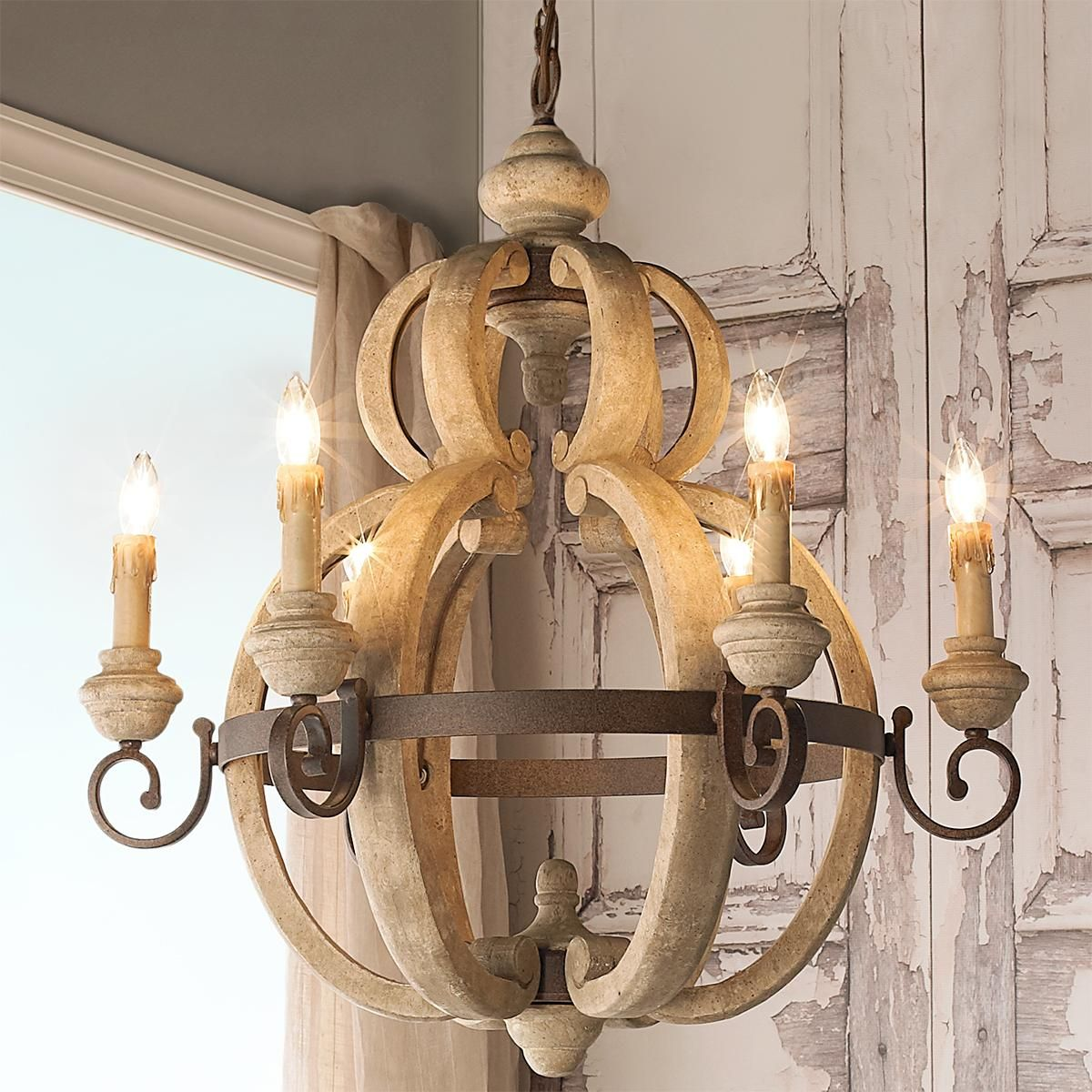 Delicieux Rustic Wood And Rusty Metal Chandelier A Charming Chandelier With Hand  Carved Wood Details And Weathered