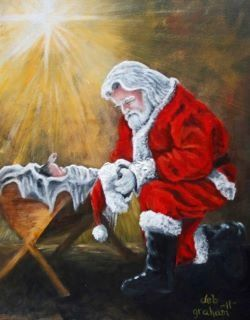 santa kneeling next to baby jesus google search