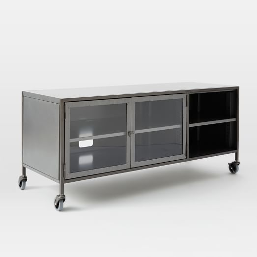 Industrial Metal Media Console Small West Elm Metal Media Console Industrial Media Console Media Console
