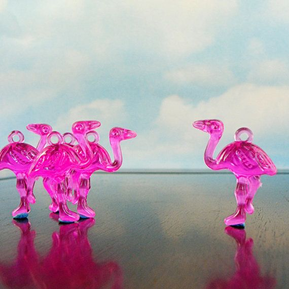 Fuchsia Pink Flamingos qty 6  great plastic charms by HighPie, $2.00