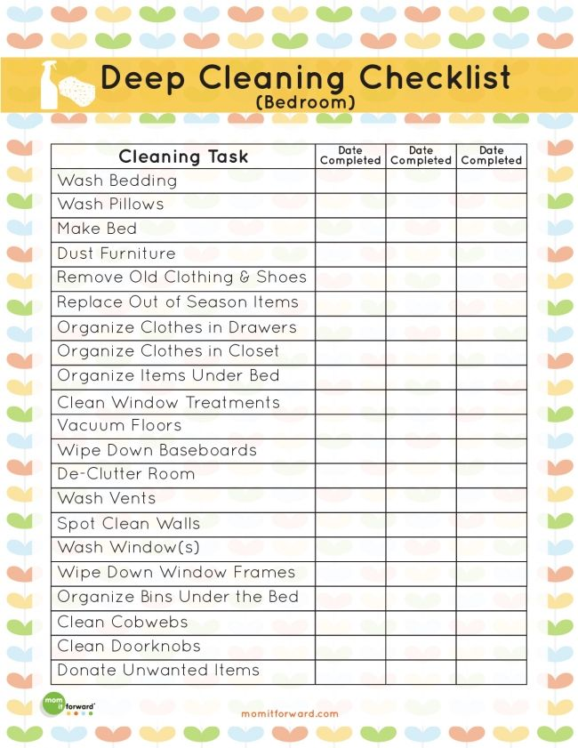 Free Printable Deep Cleaning Bedroom List decor Pinterest - sample house cleaning checklist