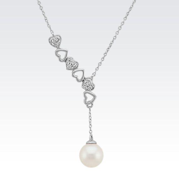 7ffecb1525cfb 7.5mm Pearl & Diamond Hearts Trail Necklace | want! | Pearl diamond ...
