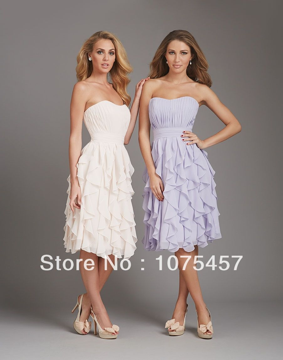 Click to Buy    Unique Chiffon Bridesmaid Dresses Knee Length Pleat with  Ruffles 01d55a20c930
