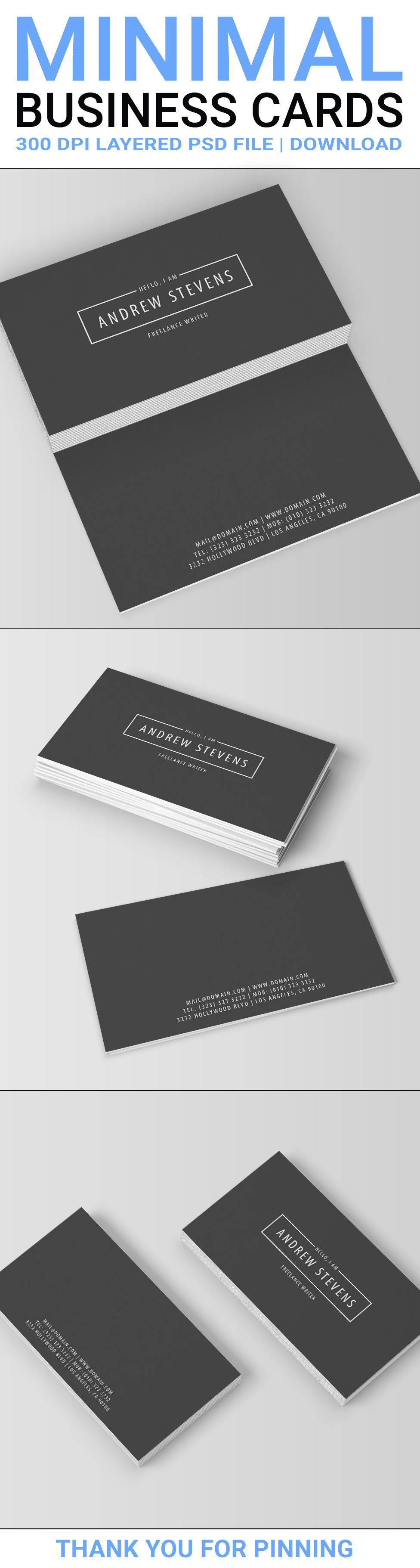 Modern minimal business cards template the two sided design minimal dark business cards template psd instant download 3 back site options reheart Gallery