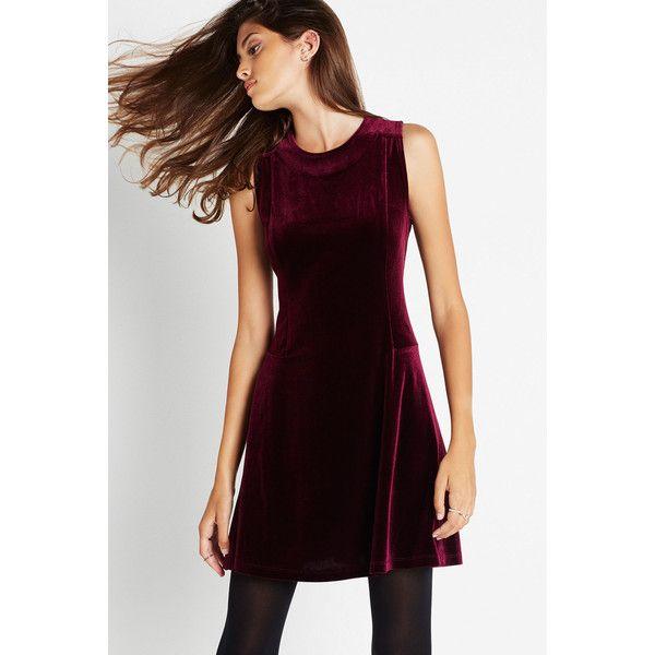 BCBGeneration Velvet Skater Dress ($108) ❤ liked on Polyvore featuring dresses, bordeaux, velvet skater skirt, skater skirt dress, sleeveless skater dress, purple skater dress and going out dresses
