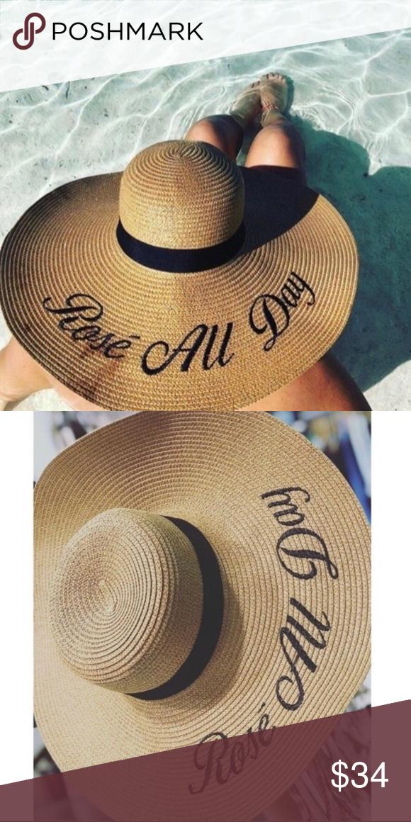 "47d5dcc8 Rosé All Day Floppy Straw Sun Hat ▫️Size: 18.5"" x 18.5"" ▫️100 ..."
