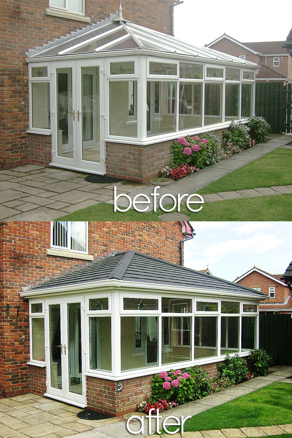 Beautiful Before And Afters Installations Of Supalite Roofing A Fantastic Light Weight Solution Conservatory Decor Tiled Conservatory Roof Conservatory Roof