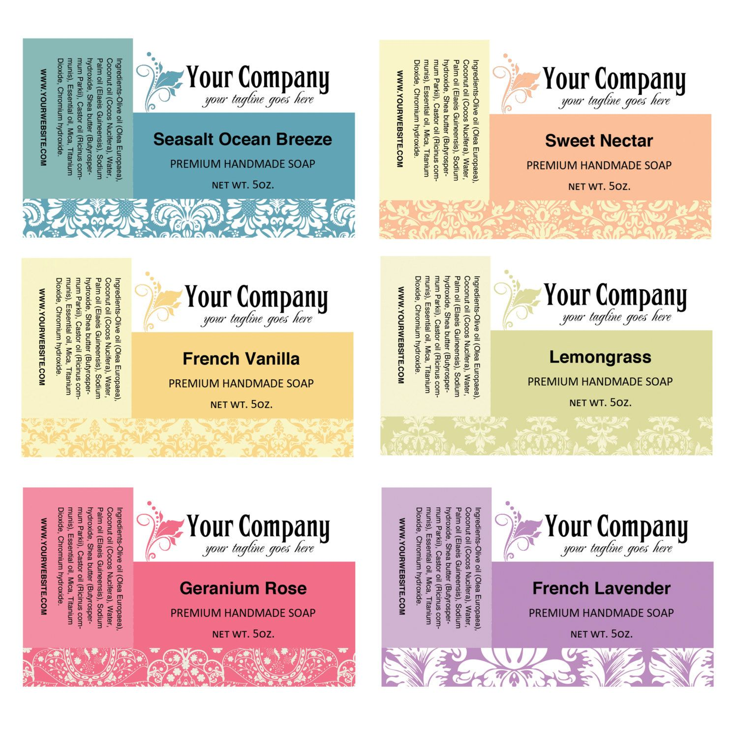 ingredients labels template