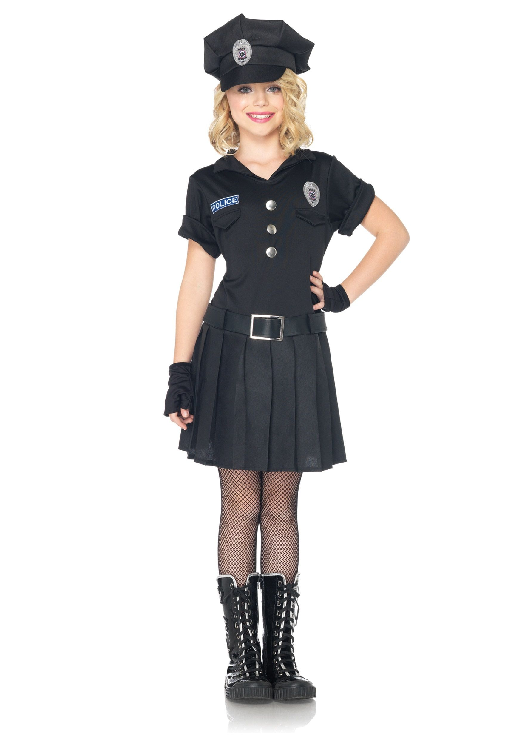keep the streets safe with this girls playtime police costume this affordable cop costume for kids makes a fun halloween or even just dress up costume - Girls Cop Halloween Costume