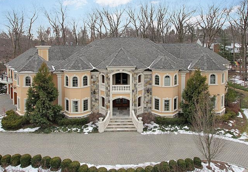 Front Aerial Mansions Franklin Lakes Sale House
