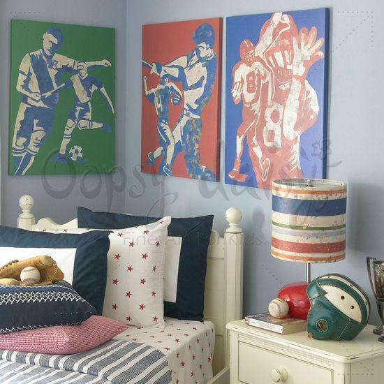 Mosaic sports players artwork for kids rooms by jones eggy for oopsy daisy fine art for kids