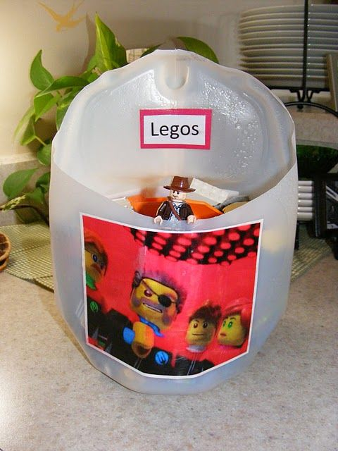 Recycled milk jug turns into lego storage... so simple and brilliant!