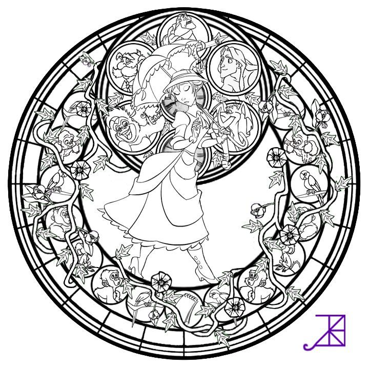 Jane Stained Glass Line Art By Akili Amethyst D4vrj2n Png 720 720 Pixels Mandala Coloring Pages Disney Coloring Pages Disney Stained Glass