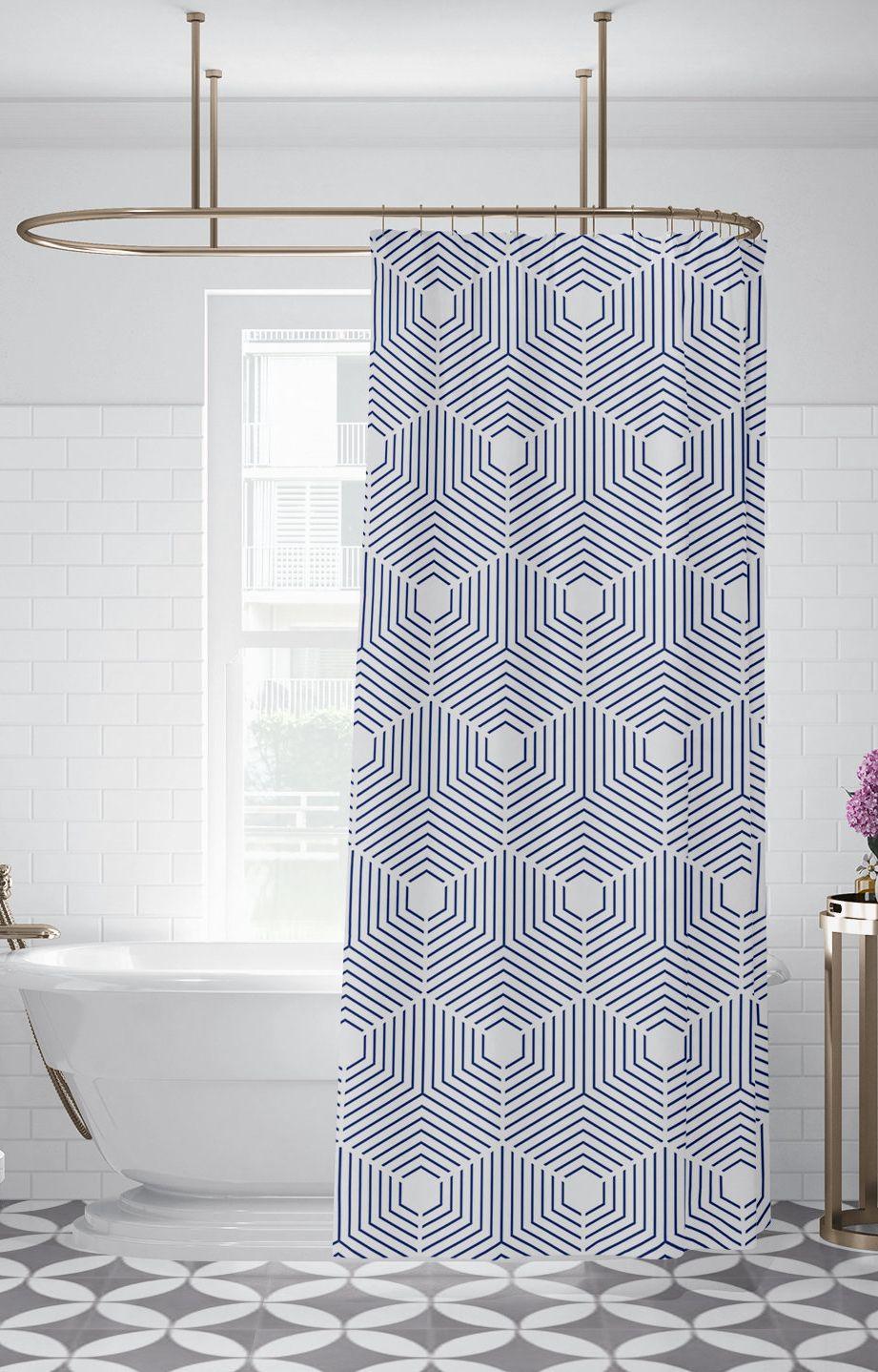 Indigo Geometric Pattern Shower Curtain Custom Printed Bath Curtain Fabric Shower Curtain Indigo Blue Shower Curtain Machine Washable Fabric Shower Curtains Patterned Shower Curtain Blue Shower Curtains